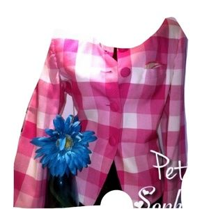 PETITE SOPHISTICATE Pink Checkered PeaCoat